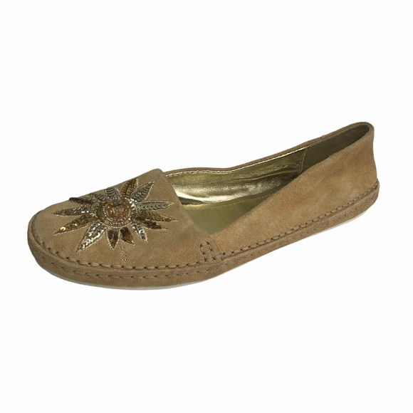 Coach Womens Moccasin Flat Shoes Suede Embroidered